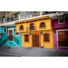 Colorful Mexico Photo Fine Art Photography Puerto Vallarta Mexico... ($9.36) ❤ liked on Polyvore featuring home, home decor, integritytt, orange home decor, purple home decor, purple home accessories, colorful home decor and teal home accessories