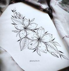 tattoos for women Plumeria Flower Tattoos, Hawaiian Flower Tattoos, Tribal Flower Tattoos, Neue Tattoos, Body Art Tattoos, Sleeve Tattoos, Tatoos, Hawaiianisches Tattoo, Tattoo Drawings
