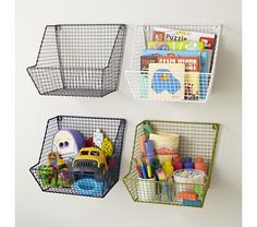 Kids Storage: Wire Wall Storage Bins