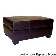 Vanderbilt Leather Look Storage Ottoman | Overstock.com Shopping - Great Deals on EpicFurnishings Ottomans