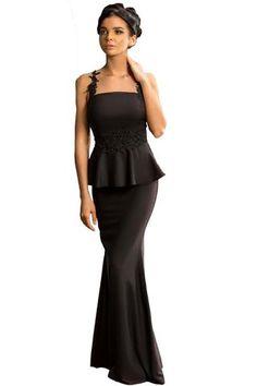 9ce615718dff61 Her Elegant Black Delicate Floral Applique Mesh Mermaid Style Dress Mono  Floral