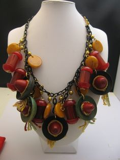 Fabulous Bakelite Necklace Sombreros c1940 from antiquesalad on Ruby Lane