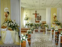 First Communion Party, First Holy Communion, Corpus Christi, Table Decorations, Church Decorations, Flower Arrangements, Interior, Flowers, Wedding