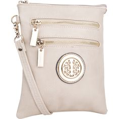 This MKF Trios cross-body bag is the perfect size bag for shopping or an evening walk. Long adjustable shoulder straps allow you customize the length. Elegant goldtone hardware accents the wide variety of colors. Multiple pockets fit your needs.