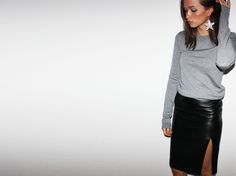 Columbine Smille in Leather skirt