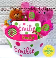 Personalized Baby Basket Baby Shower Gift Baby by TheLemonadeGirl, $45.00