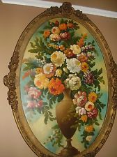 OVAL antique oil painting floral still life flowers ornate Rose gold frame Rose Oil Painting, Still Life Flowers, Rose Gold Frame, Oval Frame, Vintage Roses, Decorative Plates, Walls, Antiques, Floral