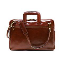 Floto Firenze Slim Briefcase Messenger Bag in Brown by FlotoBags