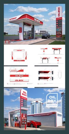 Modern format of automatic filling stations / OILBOX on Behance Entrance Signage, Outdoor Signage, Pompe A Essence, House Construction Plan, Building Signs, Old Gas Stations, Filling Station, Signage Design, Architecture Plan