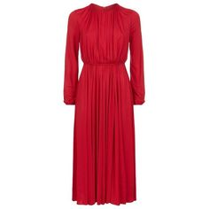 Valentino Ruched Midi Dress (163.525 RUB) ❤ liked on Polyvore featuring dresses, valentino, party dresses, red midi dress, ruched waist dress, holiday party dresses and midi dresses