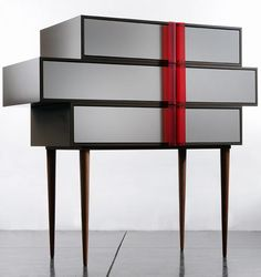 Israeli designer Hagit Pincovici is a third generation artisan and continues the legacy of solid craftsmanship but adds her own modern aesthetic to her work. She designed the A line chest of drawers for the Italian design label Colè.