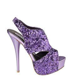 Steve Madden purple platform peep toe sequin