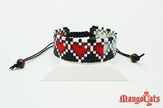 Zelda hearts bracelet made with mini hama beads by MangoCats, $13.50