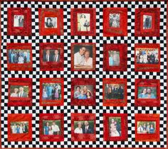 Memory Art Quilt Wall Hanging by cindyrquilts on Etsy, $3000.00 Quilt Block Patterns, Pattern Blocks, Quilt Blocks, Photo Quilts, 60 Wedding Anniversary, Memory Crafts, Online Coloring, Quilted Wall Hangings, Red Fabric