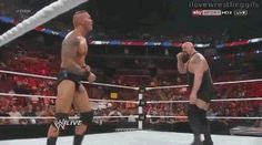 BIG SHOW TRIES TO HIT A KO PUNCH BUT RANDY ORTON WONT LET THAT HAPPEN AND CONECTS WITH A RKO FROM OUT OF NOWHERE