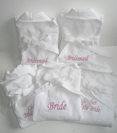 If you've got the money, how about this cute idea? Bride and Bridesmaid dressing gowns. You can all chill out in the morning drinking champagne and get your hair and make-up done in one of these before changing, or wear over the top of dresses to protect them. Would also make for some great photos!