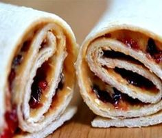 New idea for Lunch! Wrap recipes including peanut butter and jelly wraps and cream cheese, sliced ham, and shredded carrots wraps. Roll-ups made with flour tortillas and various fillings. Toddler Meals, Kids Meals, Easy Meals, Toddler Food, Sliced Ham, Birthday Breakfast, Wrap Recipes, Kid Recipes, Recipies