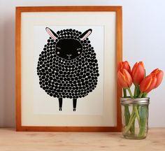 Black Sheep Illustration Nursery Art Children Decor  por Gingiber, $23.00