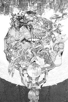 Promotional art for Otomo Katsuhiro's current exhibition in Tokyo