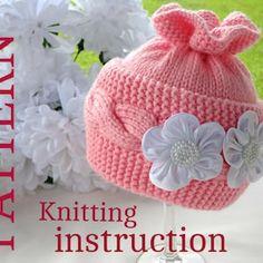 Knitting PATTERN Baby Hat Baby Bonnet Baby Girl Pattern   Etsy