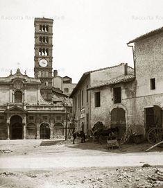 Piazza Bocca della Verità – Santa Maria in Cosmedin, prima dei rifacimenti del 1899 del Giovenale. Anno: 1890 ca.