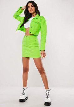 Missguided Neon Green Co Ord Cropped Denim Jacket Source by mariahesus outfit Cropped Denim Jacket, Denim Skirt, Ropa Color Neon, Clothing For Tall Women, Clothes For Women, Neon Green Outfits, Girls Fashion Clothes, Fashion Outfits, Double Denim