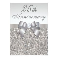 20 great 25th wedding anniversary invitation wording ideas 25 25th silver wedding anniversary faux sequins and bow 5x7 paper invitation card solutioingenieria Gallery