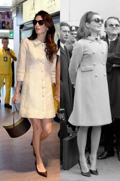 Amal Clooney and Jackie Kennedy in similar coat dresses.