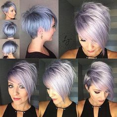 30 best Pixie hairstyles 2018 - My list of women's hairstyles Hair Color And Cut, Haircut And Color, Funky Hairstyles, Short Hairstyles For Women, Curly Haircuts, Short Asymmetrical Hairstyles, Asymmetrical Bob Short, Short Stacked Haircuts, Short Hair Cuts