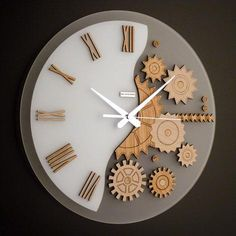 55 creative ideas for great modern wall clock design- 55 kreative Ideen für tolles modernes Wanduhr Design and white-pointer - Clock Art, Diy Clock, Clock Ideas, Diy Wall Clocks, Wall Clock Wooden, Kitchen Wall Clocks, Mur Diy, Wall Watch, Modern Clock