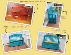 Crib repurposed into bench with cushion.  I think this is my favorite one I've pinned.