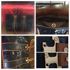 ‼️SALE-TODAY ONLYAuthentic Tory Burch shoulder bag It is royal blue & brown leather. The purse has minor markings in the inside, but in good condition. There are no tears or rips. There are two small gold buttons missing, but its not too noticeable. This is a large purse. 17x10 inches. It will come with dust bag. Make me an offer! Tory Burch Bags Shoulder Bags