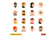 Set avatars businessmen in face @creativework247