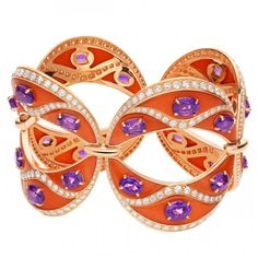 High Jewellery bracelet in pink gold with coral, 24 oval shaped amethysts and pavé diamonds by Bulgari