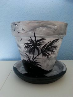 Hand painted Flower Pot & Saucer: 6 Tropical by RaindropsNRoses