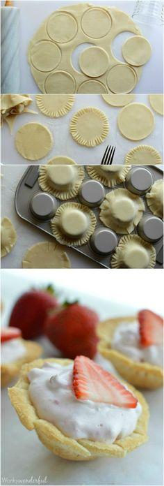 Skinny Mini Strawberry Pie Bites : Strawberry Cream Pie : Light Dessert Recipe (dessert ideas for party muffin tins) Baked Breakfast Recipes, Breakfast Bake, Just Desserts, Delicious Desserts, Yummy Food, Light Dessert Recipes, Dessert Ideas, Dessert Light, Strawberry Cream Pies