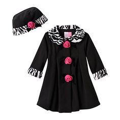 Sophie Rose Rosette & Bow Zebra Faux-Fur Fleece Jacket - Baby Girl