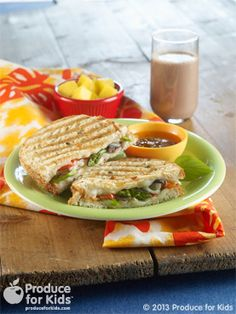Grilled Veggie Panini - This hot sandwich is perfect for a cool fall or winter day. Try serving with a small cup of our Lentil & Veggie Soup when the family is craving a sandwich and soup. #vegetarian #nutfree #recipe #produceforkids #healthy