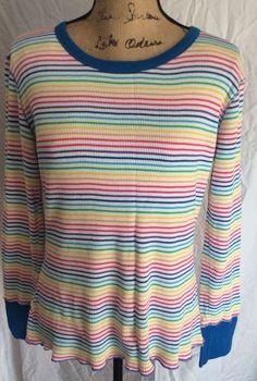 Victoria's Secret Juniors MEDIUM Multi Color Stripe Waffle Weave LS Shirt Top #VictoriasSecret #KnitTop