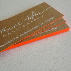 New neon edged, foil stamped business cards