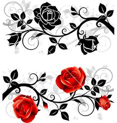 Ornament with roses vector 1099490 - by Gizel on VectorStock®