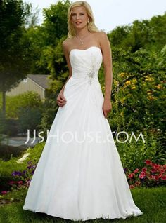 Wedding Dresses - $162.99 - A-Line/Princess Sweetheart Chapel Train Chiffon  Satin Wedding Dresses With Ruffle  Beadwork (002004588) http://jjshouse.com/A-line-Princess-Sweetheart-Chapel-Train-Chiffon--Satin-Wedding-Dresses-With-Ruffle--Beadwork-002004588-g4588