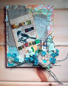 Free video lesson and you can work right along with me and create a floating mixed media panel using stuff from your stash for yourself or as a gift.