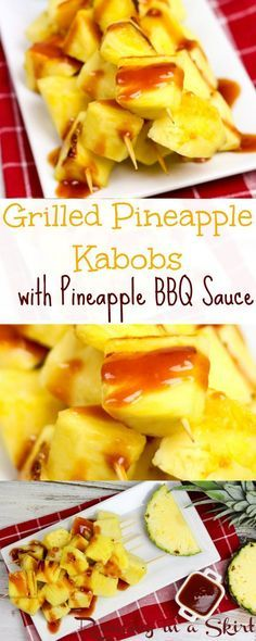 Grilled Pineapple Kabobs Pineapple BBQ Sauce Recipe. A fresh, healthy and tasty way to eat fruit in summer.  Fun vegetarian grilling idea.  Trust me-- it's delicious!  | Running in a Skirt