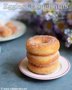 Eggless doughnut recipe, Basic donut, soft & light - Raks Kitchen Eggless doughnut recipe or donut with step by step pictures. You too can make soft, light and fluffy with spongy inside donuts at home. Eggless Donut Recipe, Baked Donut Recipes, Eggless Desserts, Eggless Baking, Eggless Recipes, Baking Recipes, Snack Recipes, Dessert Recipes, Gourmet