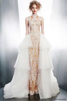 http://www.weddinginspirasi.com/2014/10/03/gemy-maalouf-2015-wedding-dresses-part-1/   gemy maalouf #wedding dress winter 2015 #bridal separates 3968 top 4157 skirt 4178 overskirt #weddingDress #weddingGown