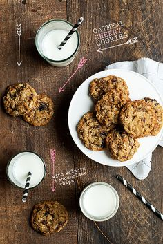 Oatmeal Cherry Cookies with Walnuts + Chocolate Chips