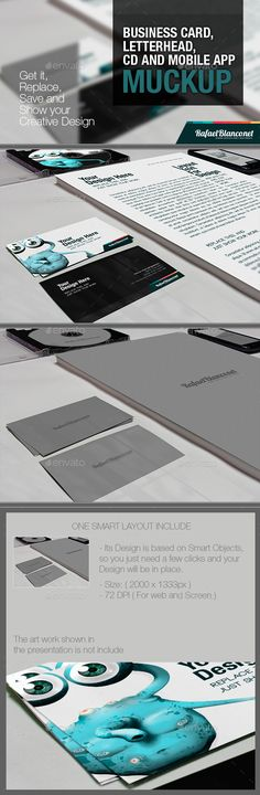 Buy Business Card, Letterhead CD and App Mock-Up by on GraphicRiver. Business Card, Letterhead, CD and App Muckup is a nice and clean way that designers can use to show their own work, m. Creative Design, Your Design, Cd Card, Invitation Templates, Invitations, Buy Business Cards, Letterhead, Photo Backgrounds, Mobile App