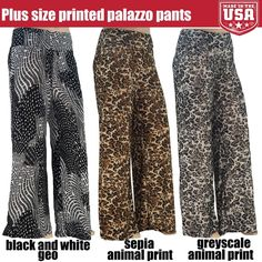 New Women's Plus Size Curvy Print Stretchy Palazzo Pants 1X 2X 3X #Stylzoo #PalazzoPants Fashion Trendy Style Cute Fierce Sexy