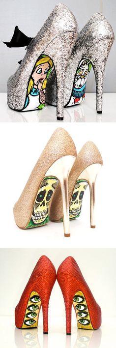 Taylor Reeve juntou a paixão por salto alto com o talento da ilustração para criar sapatos com solas estampadas, com desenhos influenciados pela cultura Pop art e graffiti. Conheça alguns modelos: